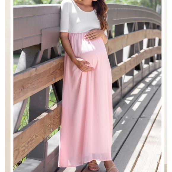 6740b8cbf Pinkblush Dresses | Pink Blush 2x Pale Pink Chiffon Maxi Dress Nwt ...
